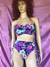 New listing Victoria's Secret  2 Piece Swimsuit Purple Floral High Waisted Bottom Sz L