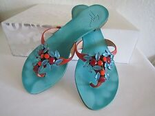 GIUSEPPE ZANOTTI  Aqua Coral Faceted Stones Leather Thong Sandals Sz 7