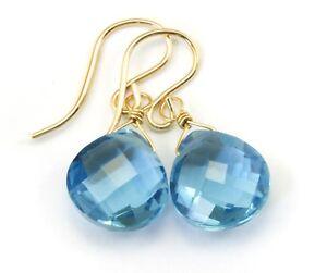 14k Gold London Blue Sim Topaz Earrings Facet Heart Sterling Silver Teardrops