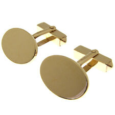 9 CARAT GOLD OVAL CUFFLINKS. VERY HEAVY HALLMARKED 2mm thick ENGLISH CUFFLINKS