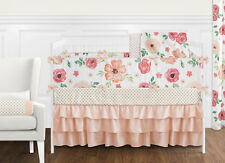 Sweet Jojo Peach Green Shabby Chic Watercolor Floral Baby Girl Crib Bedding Set