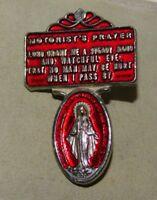 New Visor Virgin Mary Silver Tone Motorist's Prayer Red Enamel Catholic 11H 96