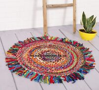 Braided Round Cotton Area Rag Rug Hardwood Floors Natural Recycled Woven Fabric