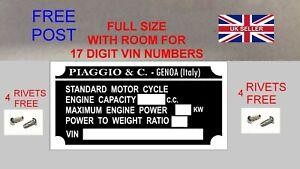 4 FREE RIVETS Vespa Gilera Piaggio Scooters VIN Data Plate Frame ID Tag Chassis