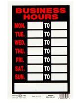 Hillman 12-in x 8-in Business Hours Sign Plastic Signs Door Window Durable NEW