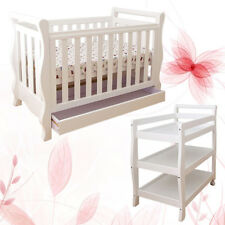 White New Zealand Pine 3-in-1 Baby Sleigh Cot Bed & Change Table Set Package