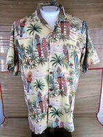 ULUWATU men Hawaiian ALOHA shirt L pit to pit 23 surf board palm tree luau tiki