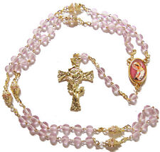 Pink Mystical rose glass 6mm 7 sorrows servite rosary beads gold paters Catholic
