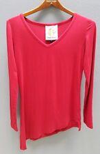 CHARLIE BROWN Red Stretch Top Size 0/AU6-8 Long Sleeve Asymmetrical Hem Designer