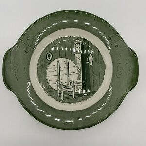 GRAVY UNDER PLATE Colonial Homestead By Royal USA Green & White China