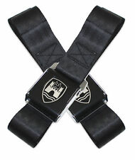 VW WOLFSBURG 2 POINT LAP SEAT BELTS BLACK BUCKLE TYPE 1 3 BUG BUS GHIA MADE USA