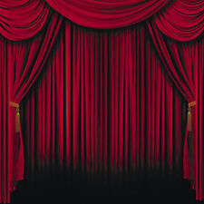 RED CURTAIN magic stage show BACKDROP BANNER photo prop WALL MURAL party decor