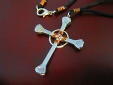 Nail Cross Necklace Horseshoe Nail & Copper wire wrap silver clasp USA Handmade