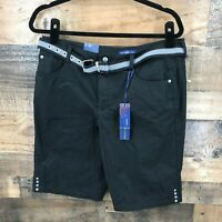 New Bandolino Denim Women's Black Flat Front Belted Bermuda Shorts Size 10