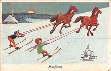 POSTCARD  CHILDREN  SWITZERLAND       Winter  Sports  Horses