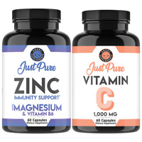 Just Pure Zinc + Magnesium & Vitamin B6 and Vitamin C Pills Immunity Support 2pk