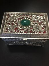 VINTAGE  METAL JEWELRY/TRINKET BOX----SILVER TONE---floral Green Stone Footed