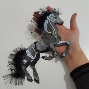 Black Horse Animal Handmade Sew-On Embroidered Patch