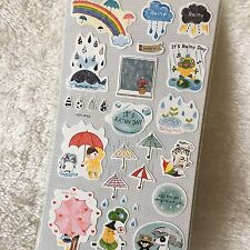 Rainy Day Paper Stickers Weather Rainbow Scrapbook diary Cardmaking Phone DIY