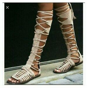 Free People Sun Seeker Vachetta Tan Gladiator Sandal Suede 41/11 Lace Up New 251