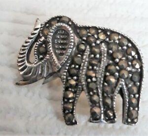 "925 Sterling Silver Marcasite Elephant Brooch    Width 24mm (just under 1"")"