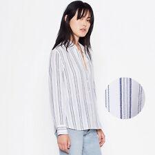 EQUIPMENT Leema Silk Shirt in Seaside Blue Stripe Size Large L