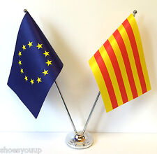 European Union EU & Catalonia Flags Chrome and Satin Table Desk Flag Set