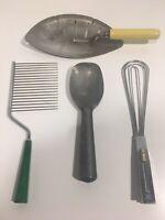 Vintage Lot 4 Kitchen Utensils Metal Spoon, Bakelite, Pot Strainer Gripper Tongs