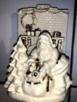 "LENOX  SANTA FIREPLACE VOTIVE  GOLD TRIM 8 1/4"" - PRE OWNED #0999"