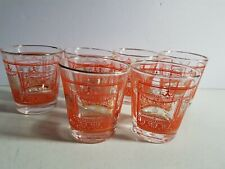 Orange and Gold Drinking Glass Mid Century Set Vintage Tumbler