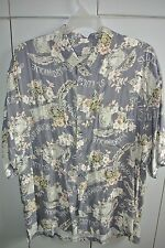 Straight Down Mens XXL Postcards & Flowers of the Caribbean on Gray /Nice