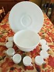 1950'S FENTON MILK GLASS HOBNAIL PUNCH BOWL, TORTE PLATE AND 9 CUPS