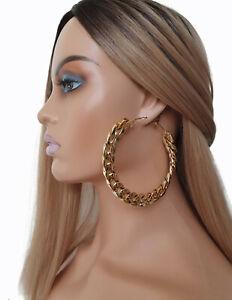 9cm BIG chunky chain round hoop earrings - Acrylic chain detail - metal hoop