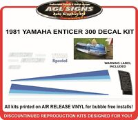 1981 YAMAHA ENTICER 300 SNOWMOBILE DECAL KIT  reproductions graphics
