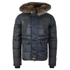 Superdry Mens Chinook Jacket Navy Blue Fur Parka Quilted Windcheater Black