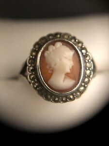 vintage 'silver' cameo ring size S marked 'silver'
