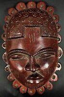 Superbe masque en bois rouge vernissé  (lourd) - Indonésie vintage ethnique