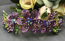 gold tone rhinestone crystal pinkish purple flower hair barrette clip 1009