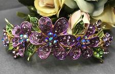 gold tone rhinestone crystal pinkish purple flower hair barrette clip 1009