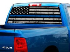P472 Police American Flag Rear Window Tint Graphic Decal Wrap Back Pickup