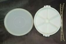 More details for vintage tupperware 6 sections lid & handle & lazy susan serving tray 6 sections