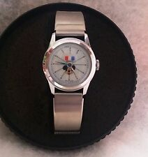 RARE Vtg Women FRENCH Bradley MICKEY MOUSE  FRANCE FLAG  SWISS Mech WindUp Watch