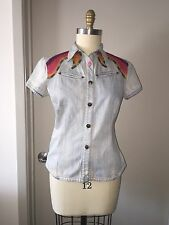 OILILY EMBROIDERED EL PASO WESTERN Denim SHIRT LADIES  SZ 42 / 8-10 Short Sleeve