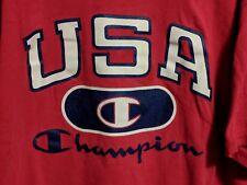 Vtg 90s Champion Red Usa Spellout Big C Dream Team Basketball T-shirt Size Xl