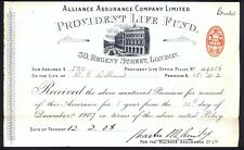 Alliance Assurance Co (Provident Life Fund): Receipt for Premium dated Dec 1907