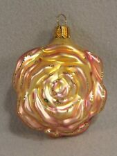 Rose Ornament Yellow Pink Whitehurst Christmas Any Occasion Glass 3.25 inches