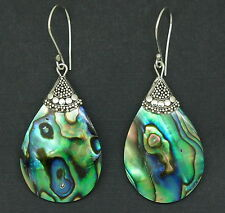 z Handcrafted Abalone Shell (New Zealand Paua) Dangle Earrings in 925 Silver