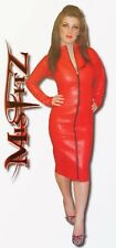 Misfitz red leather look pencil mistress dress 2 way zip 8-32 or made to measure