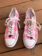 Converse All Star pink plaid checkered womens lowtops tennis shoes 12M mens 10M
