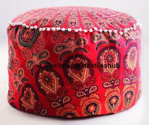 Red Ottoman Pouf Peacock Mandala Pouf Round Ottoman Seat Poufs Gypsy Bohemian US